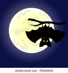 Halloween background with cute bat hanging on tree. Vector illustration.