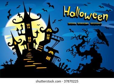 Halloween background with  dark castle
