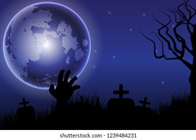 Halloween background with the dark night  full moon, zombie hands, tombstone ,silhouettes of flying bats.Vector illustration.