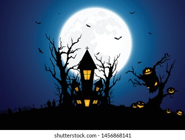 Halloween background decorated with castles and pumpkins with a full moon on the back.