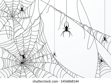 Halloween background design with black spider and torn web