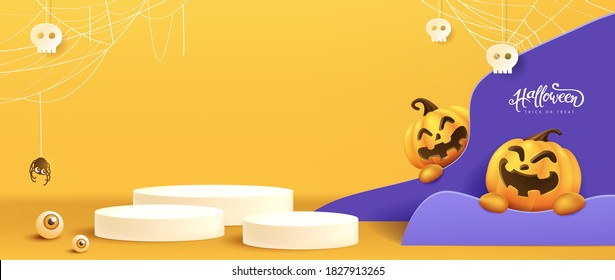 Halloween background design with product display cylindrical shape and Festive Elements Halloween.