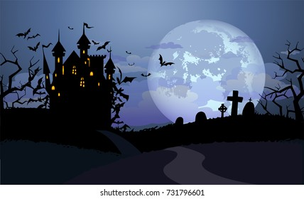 Halloween background with Dracula castle and various silhouettes of flying bats against full moon
