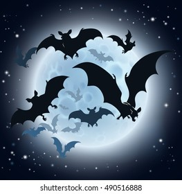 A Halloween background featuring vampire bats and a full moon