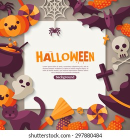Halloween Background with Flat Icons and Square Frame. Vector Illustration. Trick or Treat Concept.