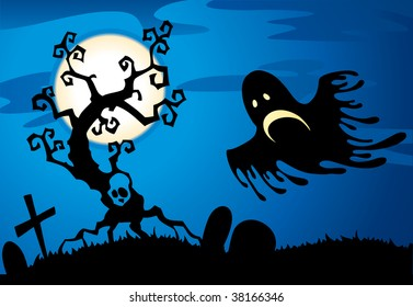 Halloween background. Flying ghost.