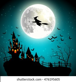 Halloween background with flying witch on the full moon. Vector illustration
