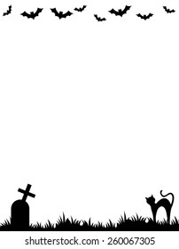 Halloween background / frame with silhouettes of bats , cat and tomb stone