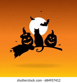 Halloween background with full moon, cat and pumpkins.