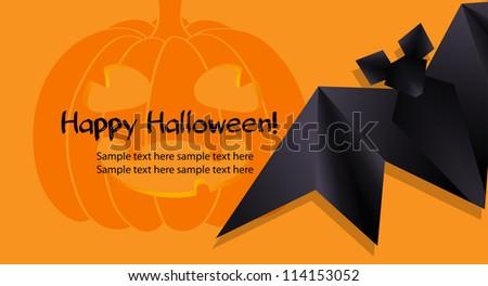 halloween background funny pumpkin black origami stock vector