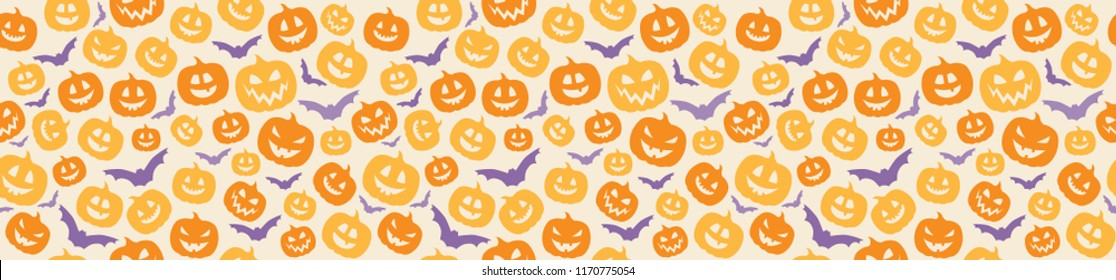 Halloween background with funny pumpkins. Vector.