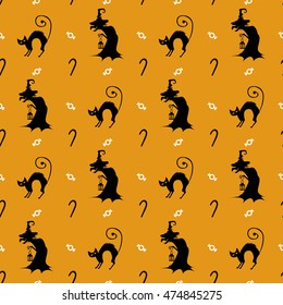 Halloween background. Funny silhouettes for packaging