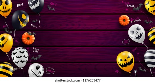 Halloween background with Halloween Ghost Balloons on wood background.Scary air balloons.Website spooky or banner  template.Vector illustration EPS10