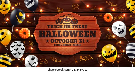 Halloween background with Halloween Ghost Balloons and string light on wood background.Scary air balloons.Website spooky or banner  template.Vector illustration EPS10
