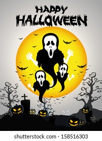 Halloween Background with ghost ,pumpkins in the Grass Bats and Moon in the dark