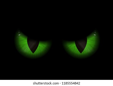 Halloween background with green evil eyes