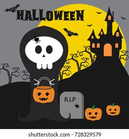 Halloween background with haunted house, bats and full moon