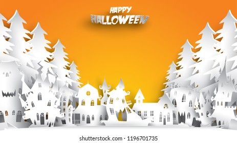 Halloween background with haunted house and fir forest in paper art carving style. banner, poster, Flyer or invitation template party. Vector illustration.