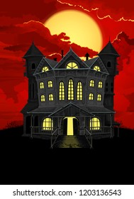 Halloween background. Haunted house with lighted windows,  on the sky big full moon behind blood red clouds.