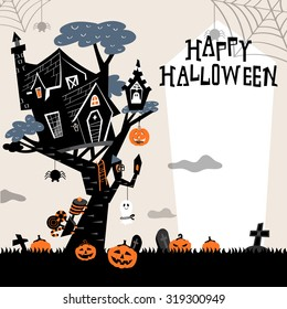 Halloween background with the haunted house on the tree and pumpkins in the bush. Train and ghost with candies for trick or treat. Spider spinning web from the top of the frame. In black and white.