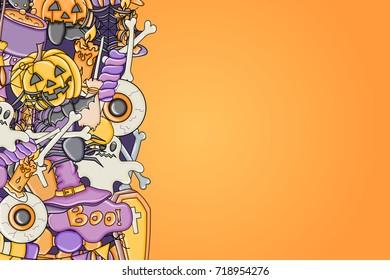 Halloween background. Holiday design elements. Template for flyer brochure banner advertisement. Vector illustration.