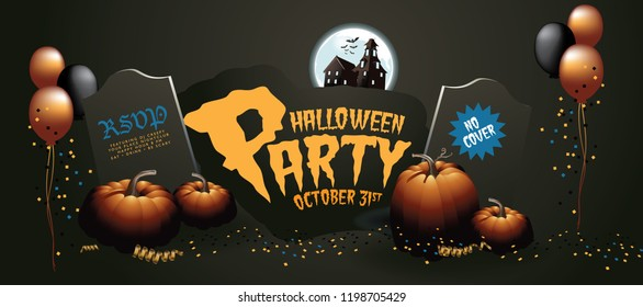 Halloween background horizontal banner. Party design for Halloween. EPS10 vector illustration.