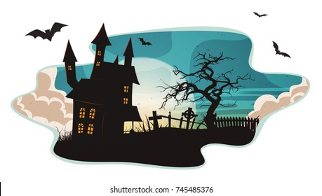 Halloween Background/ Illustration of a cartoon spooky landscape background, for halloween holidays, with haunted house, christian tombstones inside graveyard, fog, full moon and bats
