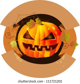 Halloween background label with pumpkin, vector