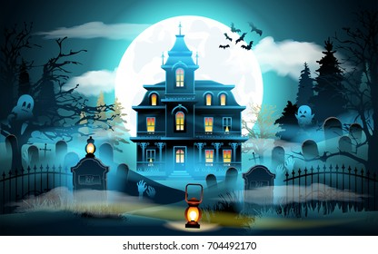 Halloween background. Halloween landscape with castle and cemetery. Vector illustration