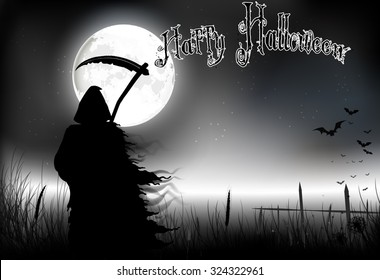 Halloween background -  a man silhouette of black scary scytheman standing   on night full moon. vector