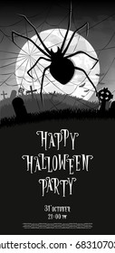 Halloween background. Monster spider on old cemetery backdrop on scary moon, bats and graves. Design for concept banner, poster, flyer, cards or invites on party. Cartoon style. Vector illustration.