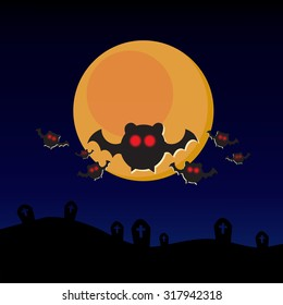 Halloween background with moon eclipse graveyards and red eyeball bats silhouette.