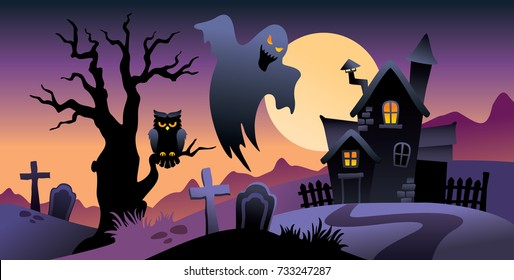 Halloween background, mysterious landscape, cartoon witch house, full moon, night scene, tree, ghost, owl, bat, full moon, cemetery, vector illustration