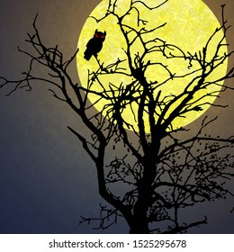 halloween background with a owl sitting in a dead tree in front of an yellow full moon