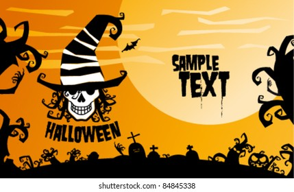 Halloween background for party invitation, vector illustration.