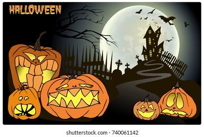 Halloween background, pumpkin, castle and bat. Set of halloween element haloween party
