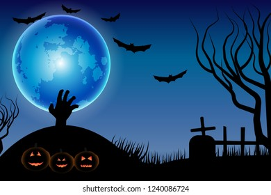 Halloween background with pumpkins in the dark night with full moon, zombie hands, tombstone ,silhouettes of flying bats.Vector illustration.