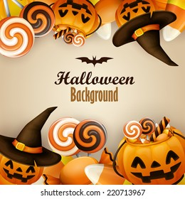 Halloween background with pumpkins and sweets