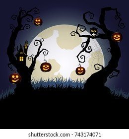 Halloween background with halloween pumpkins, tree house and moon