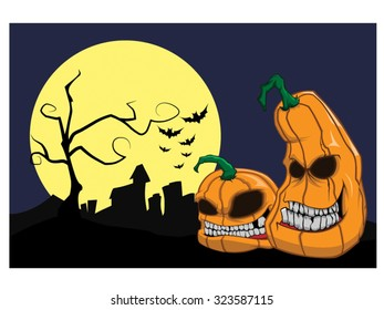 Halloween background with pumpkins vector art
