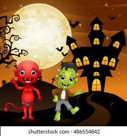 Halloween background with red devil and frankenstein.Vector illustration