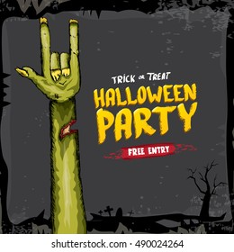 Halloween background with rock n roll zombie hand . vector halloween party creative concept invitation or poster. halloween cartoon banner.