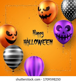 Halloween background with scary air balloons. Greeting card, party invitation or sale banner template