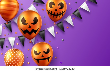 Halloween background with scary air balloons and flag garlands. Greeting card, party invitation or sale banner template