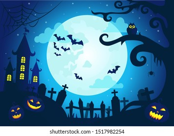 Halloween background with scary castle at night, pumpkins, bats and big moon on dark blue sky, graveyard with gravestones, old tree with spider web and owl, vector illustration