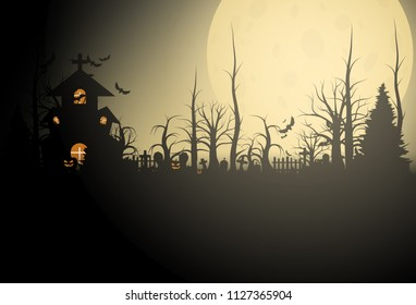 Halloween background and scary church on graveyard. Vector illumination