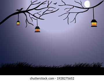 Halloween Background, Scary background, flying bat, Men lamp in hand