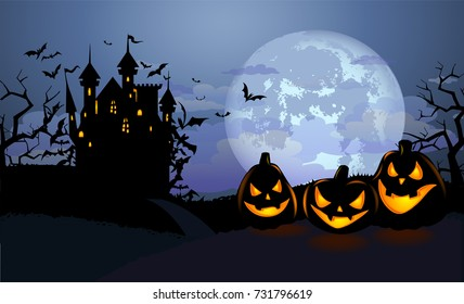 Halloween background with scary pumpkins, Dracula castle and various silhouettes of flying bats against full moon