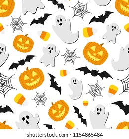 Halloween Background Seamless Repeat Pattern Vector Ghost Pumpkin Festival