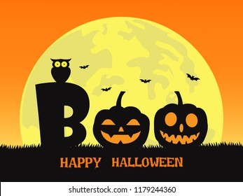 Halloween background with smile pumpkin devil in graveyard and the full moon - boo!